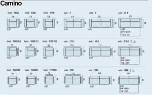 Camino - Canapele modulare, dimensiunii.