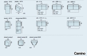 Camino - Coltare living piele - module, dimensiuni.