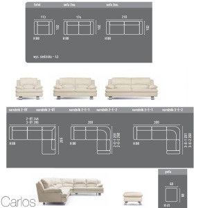 Carlos - Canapele si coltare moderne : Dimensiunii.