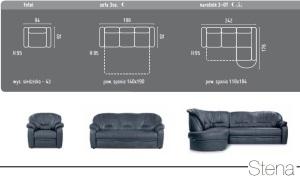 Dimensiuni canapele din piele - Stena.