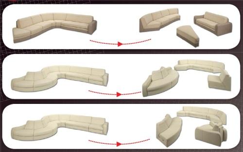 Aranjamente canapele modulare din piele - Meander.