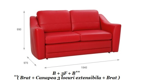 Canapea extensibila cu brate : Bianco.