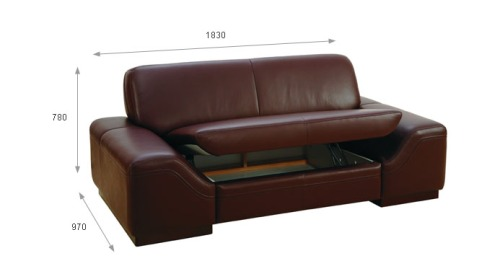 Canapea 2 locuri cu lada - Mateo.