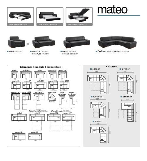 Aranjamente & dimensiunii canapele din piele model : Mateo.