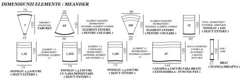 Dimensiunii & Detalii elemente canapele din piele - Meander.
