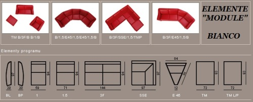 Elemente si dimensiunii canapele din piele : Bianco.