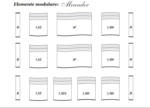 Elemente modulare din piele - detalii - Meander.